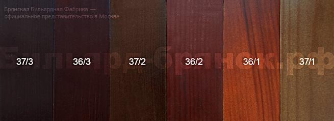 Образцы цвета бильярдных столов Брянской Бильярдной Фабрики www.billiard-bryansk.ru